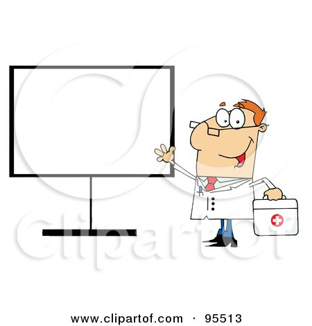 Royalty-Free (RF) Clipart Illustration of a Friendly Male Doctor Standing By A Blank Board by Hit Toon