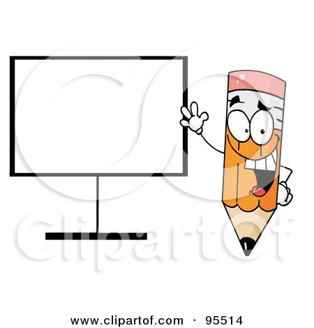 Royalty-Free (RF) Clipart Illustration of a Happy Pencil Beside A Blank Board by Hit Toon