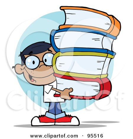 Royalty-Free (RF) Clipart Illustration of a Smart Hispanic School Boy Carrying A Stack Of Books by Hit Toon