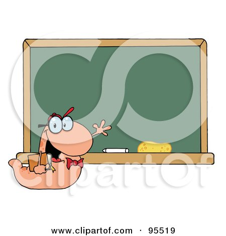 Royalty-Free (RF) Clipart Illustration of a Student Bookworm By A Classroom Chalkboard by Hit Toon