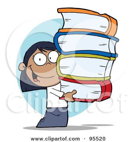 Royalty-Free (RF) Clipart Illustration of a Smart Black School Girl Carrying A Stack Of Books by Hit Toon