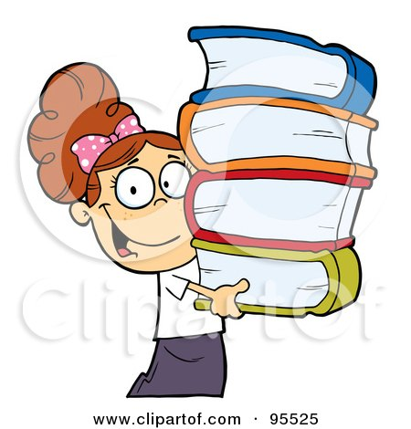 Royalty-Free (RF) Clipart Illustration of a Smart Brunette Caucasian School Girl Carrying A Stack Of Books by Hit Toon