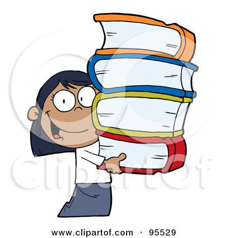 Royalty-Free (RF) Clipart Illustration of a Smart African American School Girl Carrying A Stack Of Books by Hit Toon