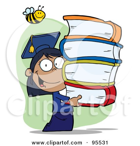 Royalty-Free (RF) Clipart Illustration of a Bee Over A Hispanic Graduate School Girl Carrying A Stack Of Books by Hit Toon
