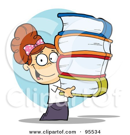 Royalty-Free (RF) Clipart Illustration of a Smart Brunette School Girl Carrying A Stack Of Books by Hit Toon