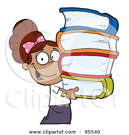 Royalty-Free (RF) Clipart Illustration of a Smart Latina School Girl Carrying A Stack Of Books by Hit Toon