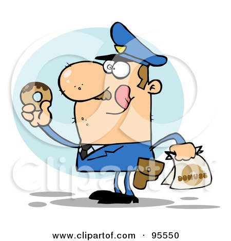 Royalty-Free (RF) Clipart Illustration of a Hungry Caucasian Cop Licking His Lips And Holding A Donut by Hit Toon