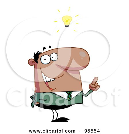 Royalty-Free (RF) Clipart Illustration of a Creative African American Businessman Under A Lightbulb by Hit Toon