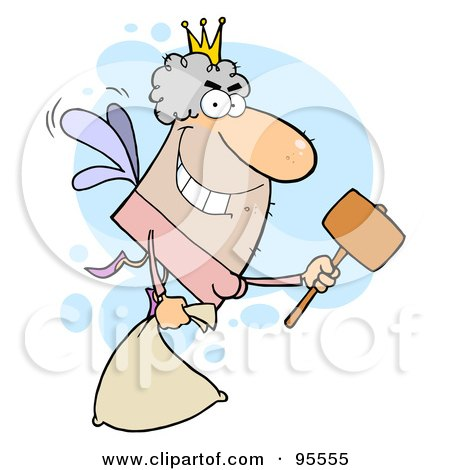 Royalty-Free (RF) Clipart Illustration of a Male White Tooth Fairy Flying With A Bag And Mallet by Hit Toon