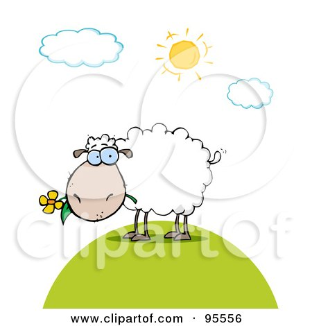 Royalty-Free (RF) Clipart Illustration of a White Sheep Eating A Flower On A Sunny Day by Hit Toon
