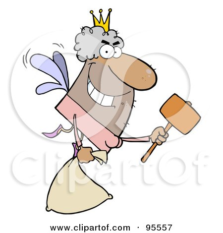 Royalty-Free (RF) Clipart Illustration of a Male African American Tooth Fairy Flying With A Bag And Mallet by Hit Toon