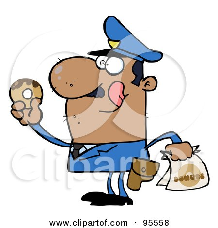 Royalty-Free (RF) Clipart Illustration of a Hungry African American Cop Licking His Lips And Holding A Donut by Hit Toon