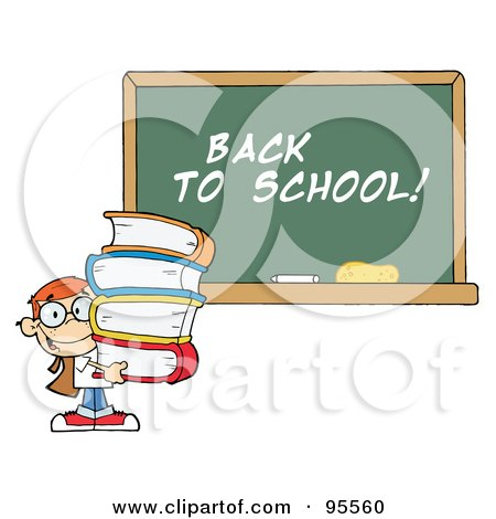 Royalty-Free (RF) Clipart Illustration of a School Boy Carrying Books By A Back To School Chalk Board by Hit Toon