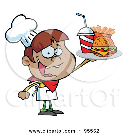 Royalty-Free (RF) Clipart Illustration of a Black Burger Boy Holding Up A Cheeseburger, Fries And Cola by Hit Toon