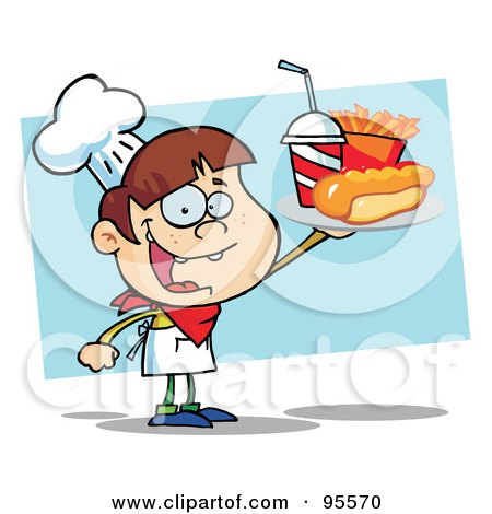 Royalty-Free (RF) Clipart Illustration of a White Chef Boy Carrying A Hot Dog, French Fries And Cola by Hit Toon