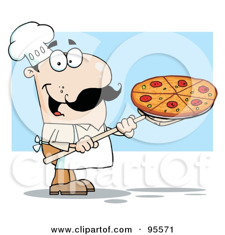 Royalty-Free (RF) Clipart Illustration of a Happy White Chef Carrying A Pizza Pie On A Stove Shovel by Hit Toon