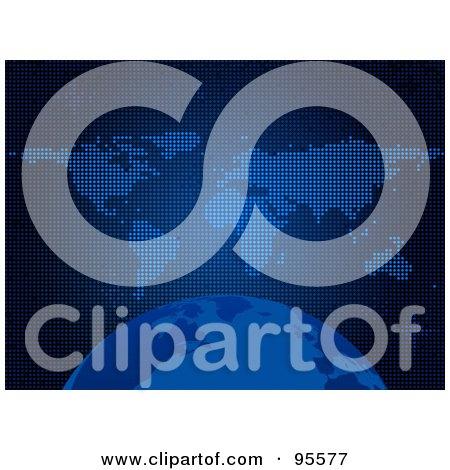 Royalty-Free (RF) Clipart Illustration of a Blue Globe Over A World Atlas by elaineitalia