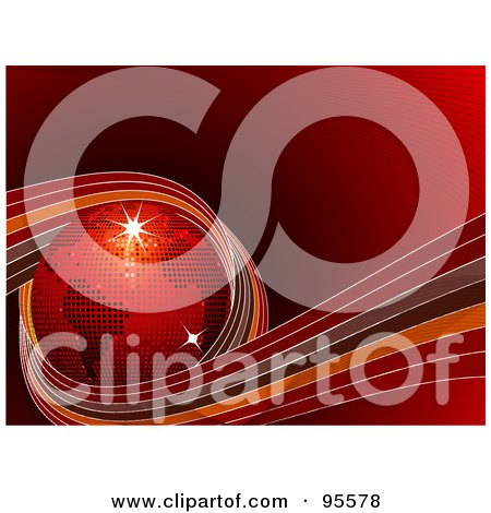 Royalty-Free (RF) Clipart Illustration of a Red Disco Globe Circled In Ribbons On Red by elaineitalia