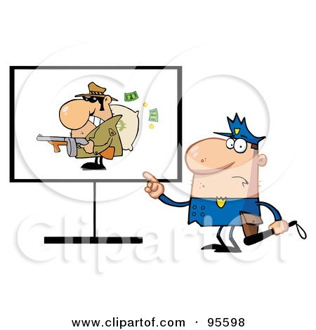 Royalty-Free (RF) Clipart Illustration of a Police Man Pointing To A Robber Sign by Hit Toon