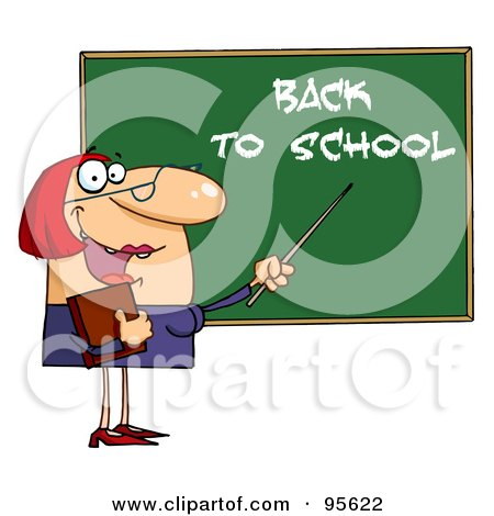 Royalty-Free (RF) Clipart Illustration of a Welcoming Female Teacher Pointing To A Back To School Chalkboard by Hit Toon