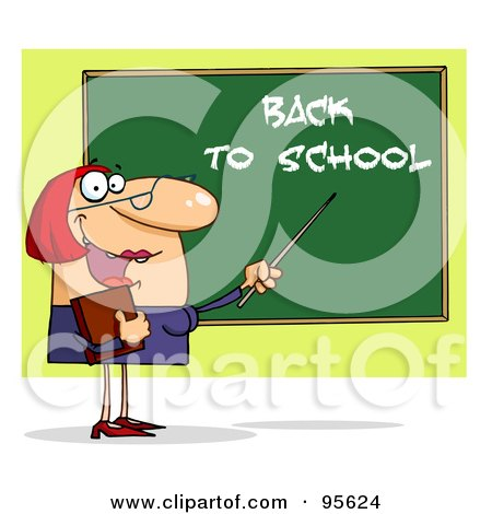 Royalty-Free (RF) Clipart Illustration of a Friendly Female Teacher Pointing To A Back To School Chalkboard by Hit Toon