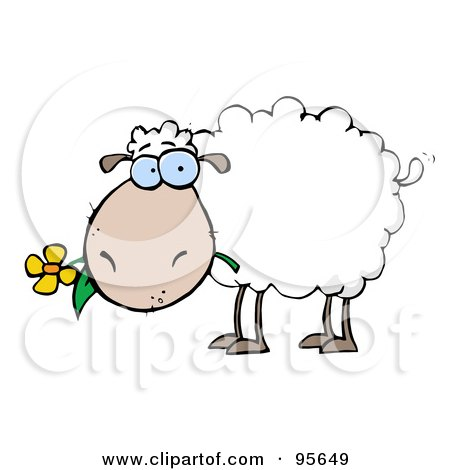 Royalty-Free (RF) Clipart Illustration of a White Sheep Carrying A Flower In Its Mouth by Hit Toon