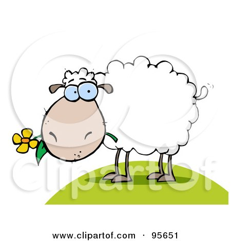 Royalty-Free (RF) Clipart Illustration of a White Sheep Eating A Flower On A Hill by Hit Toon