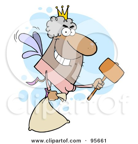 Male Hispanic Tooth Fairy Flying With A Bag And Mallet Posters, Art Prints
