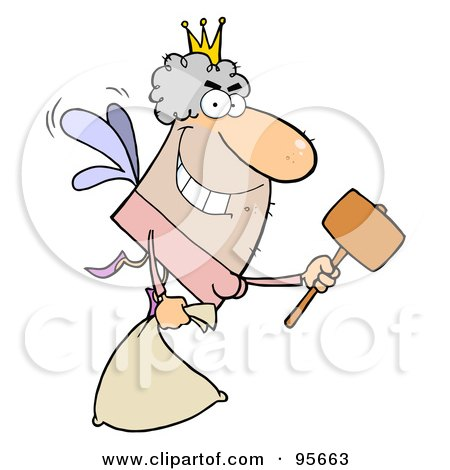 Royalty-Free (RF) Clipart Illustration of a Male Caucasian Tooth Fairy Flying With A Bag And Mallet by Hit Toon