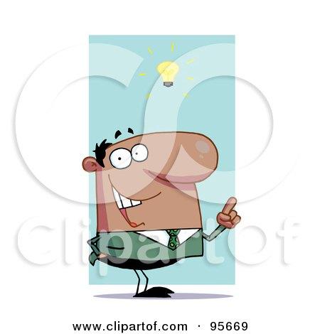 Royalty-Free (RF) Clipart Illustration of a Creative Hispanic Businessman Under A Lightbulb by Hit Toon