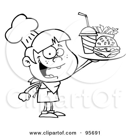 Royalty-Free (RF) Clipart Illustration of an Outlined Burger Boy Holding Up A Cheeseburger, Fries And Cola by Hit Toon