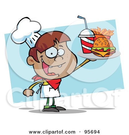 Royalty-Free (RF) Clipart Illustration of a Hispanic Burger Boy Holding Up A Cheeseburger, Fries And Cola by Hit Toon