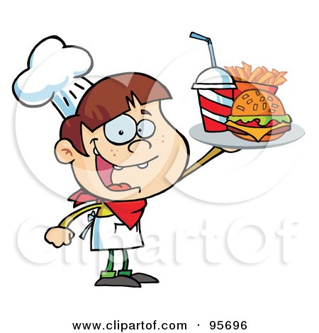 Royalty-Free (RF) Clipart Illustration of a Caucasian Burger Boy Holding Up A Cheeseburger, Fries And Cola by Hit Toon