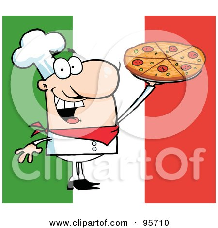Royalty-Free (RF) Clipart Illustration of a Happy Caucasian Chef Presenting His Pizza Pie - 3 by Hit Toon