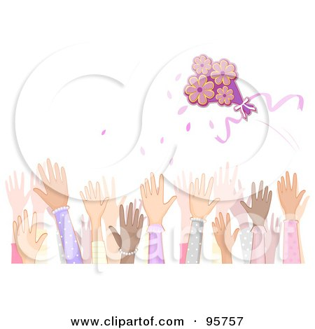 Royalty-Free (RF) Clipart Illustration of a Crowd Of Female Hands Reaching To Catch The Brides Bouquet by BNP Design Studio