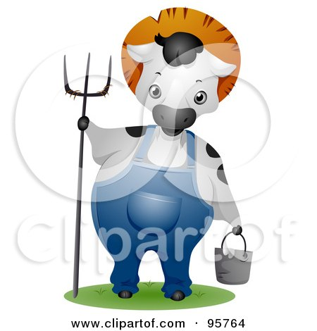 Farmer Cow Wearing Overalls And Holding A Pitchfork And Pail Posters, Art Prints