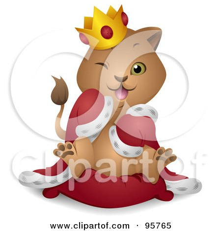 Royalty-Free (RF) Clipart Illustration of a Winking King Lion Cub In A Robe And Crown by BNP Design Studio