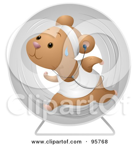 Royalty-Free (RF) Clipart Illustration of a Sweaty Hamster Running In An Exercise Wheel And Listening To Music by BNP Design Studio