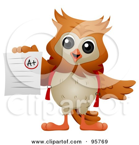 Royalty-Free (RF) Clipart Illustration of a Wise Owl Holding Up An A Graded Paper by BNP Design Studio