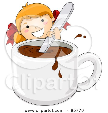 Royalty-Free (RF) Clipart Illustration of a Cute Little Girl Stirring A Giant Cup Of Hot Cocoa by BNP Design Studio