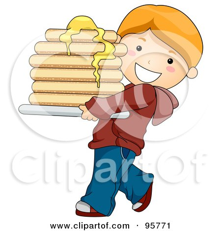 Royalty-Free (RF) Clipart Illustration of a Cute Caucasian Boy Carrying A Buttery Stack Of Pancakes by BNP Design Studio