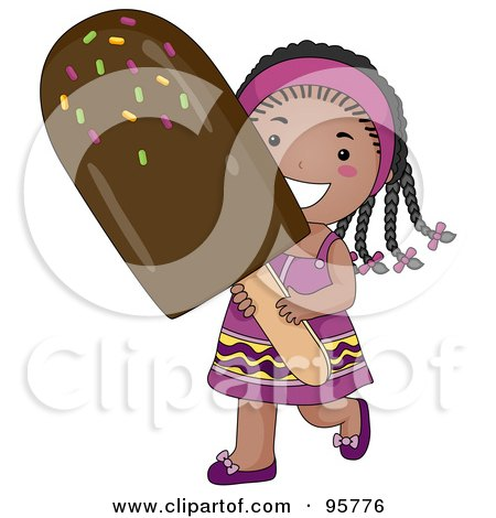 Royalty-Free (RF) Clipart Illustration of a Cute Little African American Girl Carrying A Large Fudgesicle by BNP Design Studio