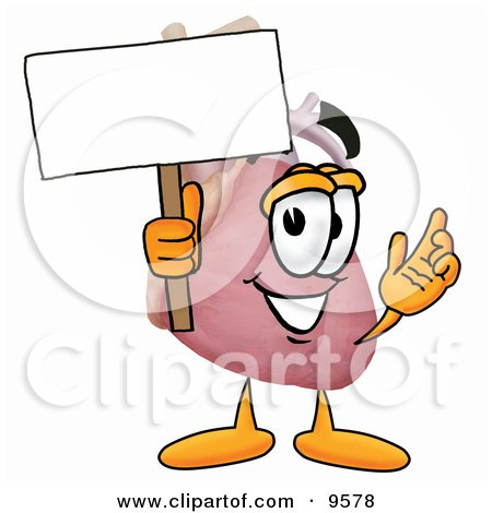 Clipart Picture of a Heart Organ Mascot Cartoon Character Holding a Blank Sign by Toons4Biz