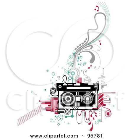 Royalty-Free (RF) Clipart Illustration of a Retro Cassette Tape On Abstract Designs by BNP Design Studio