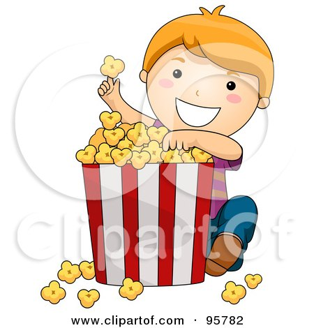 Cute Little Girl Eating A Giant Bucket Of Popcorn Posters, Art Prints