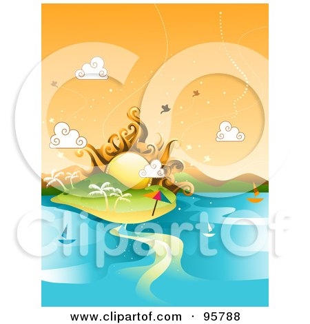 Royalty-Free (RF) Clipart Illustration of a Summer Sun Over A Tropical Island With Sailboats On The Water by BNP Design Studio