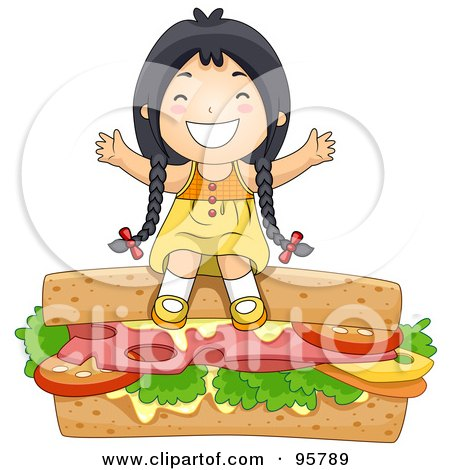 Royalty Free RF Clipart Illustration Of A Cute Little Asian Girl Sitting On Top Of A Giant Sandwich