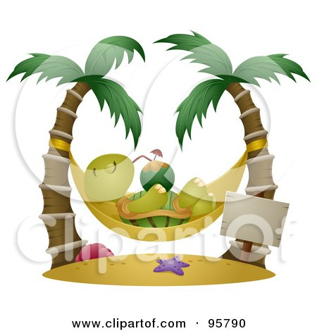 Royalty-Free (RF) Clipart Illustration of a Relaxed Tortoise Sipping A Cocktail In A Hammock Suspended Between Palm Trees by BNP Design Studio