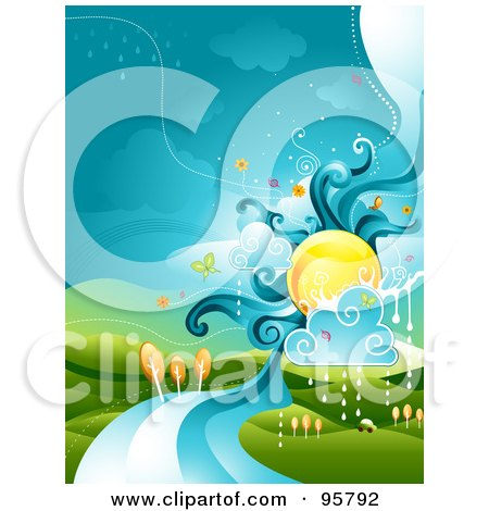 Royalty-Free (RF) Clipart Illustration of a Sun Over A River Landscape With Rain Clouds by BNP Design Studio
