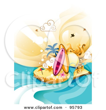 Royalty-Free (RF) Clipart Illustration of Two Surfboards And Starfish On A Sunny Tropical Island  Posters, Art Prints